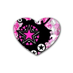 Pink Star Splatter Drink Coasters 4 Pack (heart)  by ArtistRoseanneJones