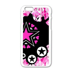 Pink Star Splatter Apple Iphone 6 White Enamel Case by ArtistRoseanneJones