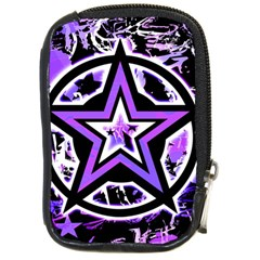 Purple Star Compact Camera Leather Case by ArtistRoseanneJones