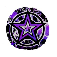 Purple Star Standard 15  Premium Round Cushion  by ArtistRoseanneJones