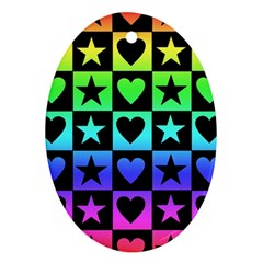 Rainbow Stars And Hearts Oval Ornament by ArtistRoseanneJones