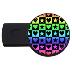 Rainbow Stars And Hearts 4gb Usb Flash Drive (round) by ArtistRoseanneJones