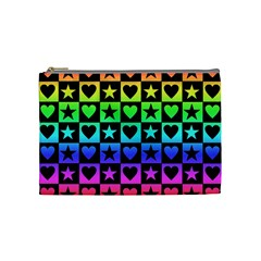 Rainbow Stars And Hearts Cosmetic Bag (medium) by ArtistRoseanneJones