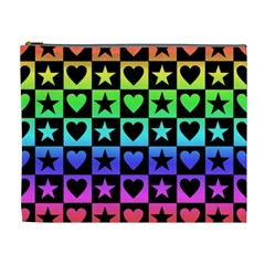 Rainbow Stars And Hearts Cosmetic Bag (xl) by ArtistRoseanneJones