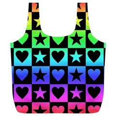 Rainbow Stars And Hearts Reusable Bag (xl) by ArtistRoseanneJones