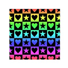 Rainbow Stars And Hearts Small Satin Scarf (square) by ArtistRoseanneJones