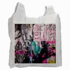 Graffiti Grunge Love White Reusable Bag (two Sides) by ArtistRoseanneJones
