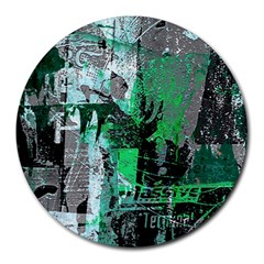 Green Urban Graffiti 8  Mouse Pad (round) by ArtistRoseanneJones