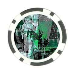 Green Urban Graffiti Poker Chip by ArtistRoseanneJones