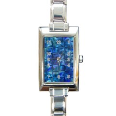 Blue Squares Tiles Rectangular Italian Charm Watch by KirstenStar