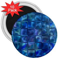 Blue Squares Tiles 3  Button Magnet (10 Pack) by KirstenStar