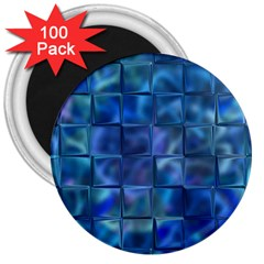 Blue Squares Tiles 3  Button Magnet (100 Pack) by KirstenStar