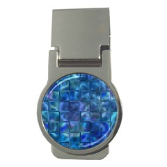 Blue Squares Tiles Money Clip (round) by KirstenStar
