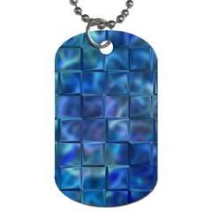 Blue Squares Tiles Dog Tag (two Sided)  by KirstenStar