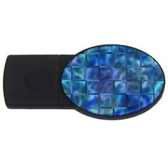 Blue Squares Tiles 4gb Usb Flash Drive (oval) by KirstenStar
