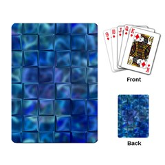 Blue Squares Tiles Playing Cards Single Design by KirstenStar
