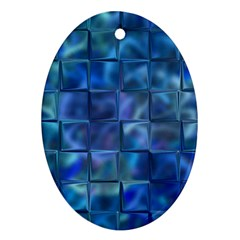 Blue Squares Tiles Oval Ornament (two Sides) by KirstenStar