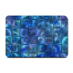 Blue Squares Tiles Small Door Mat by KirstenStar