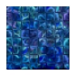 Blue Squares Tiles Face Towel by KirstenStar
