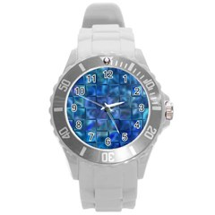 Blue Squares Tiles Plastic Sport Watch (large) by KirstenStar