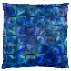 Blue Squares Tiles Large Cushion Case (two Sided)  by KirstenStar