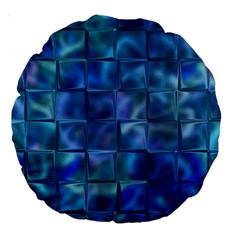 Blue Squares Tiles Large 18  Premium Round Cushion  by KirstenStar