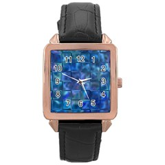 Blue Squares Tiles Rose Gold Leather Watch  by KirstenStar