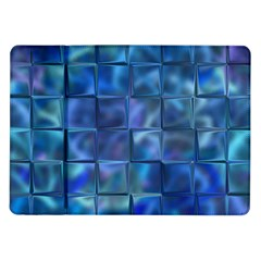 Blue Squares Tiles Samsung Galaxy Tab 10 1  P7500 Flip Case by KirstenStar