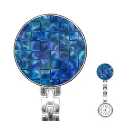 Blue Squares Tiles Stainless Steel Nurses Watch by KirstenStar