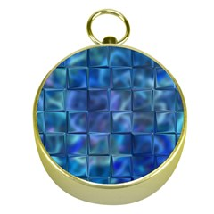 Blue Squares Tiles Gold Compass by KirstenStar