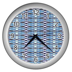 Blue Batik Wall Clock (silver)
