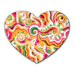 Sunshine Swirls Mouse Pad (heart) by KirstenStar