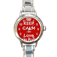 Keep Calm And Love Music 5739 Round Italian Charm Watch by SuperFunHappyTime