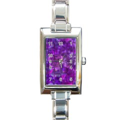 Purple Squares Rectangular Italian Charm Watch by KirstenStar