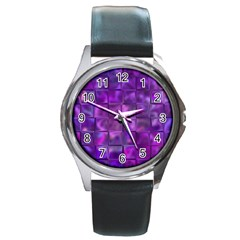 Purple Squares Round Leather Watch (silver Rim) by KirstenStar