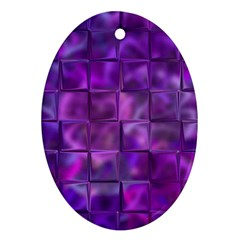Purple Squares Oval Ornament by KirstenStar