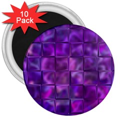 Purple Squares 3  Button Magnet (10 Pack) by KirstenStar