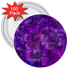 Purple Squares 3  Button (100 Pack) by KirstenStar
