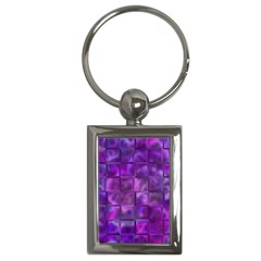 Purple Squares Key Chain (rectangle) by KirstenStar
