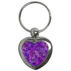 Purple Squares Key Chain (heart) by KirstenStar