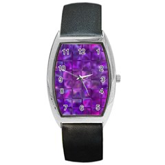 Purple Squares Tonneau Leather Watch by KirstenStar