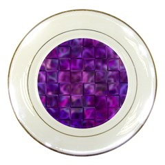 Purple Squares Porcelain Display Plate by KirstenStar