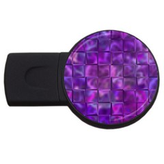 Purple Squares 4gb Usb Flash Drive (round) by KirstenStar