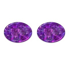 Purple Squares Cufflinks (oval) by KirstenStar
