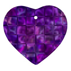 Purple Squares Heart Ornament (two Sides) by KirstenStar