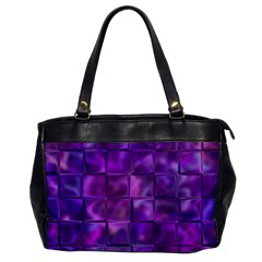 Purple Squares Oversize Office Handbag (one Side) by KirstenStar