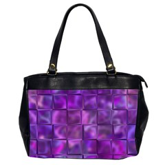 Purple Squares Oversize Office Handbag (two Sides) by KirstenStar