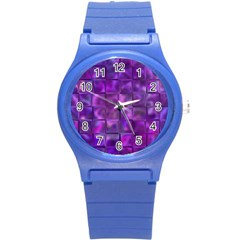 Purple Squares Plastic Sport Watch (small) by KirstenStar