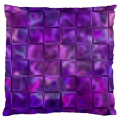 Purple Squares Large Cushion Case (single Sided)  by KirstenStar