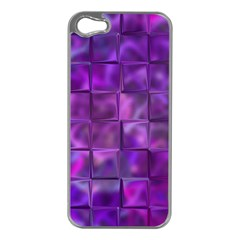 Purple Squares Apple Iphone 5 Case (silver) by KirstenStar